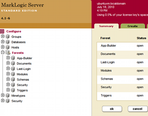 MarkLogic Server Admin Console - Forests